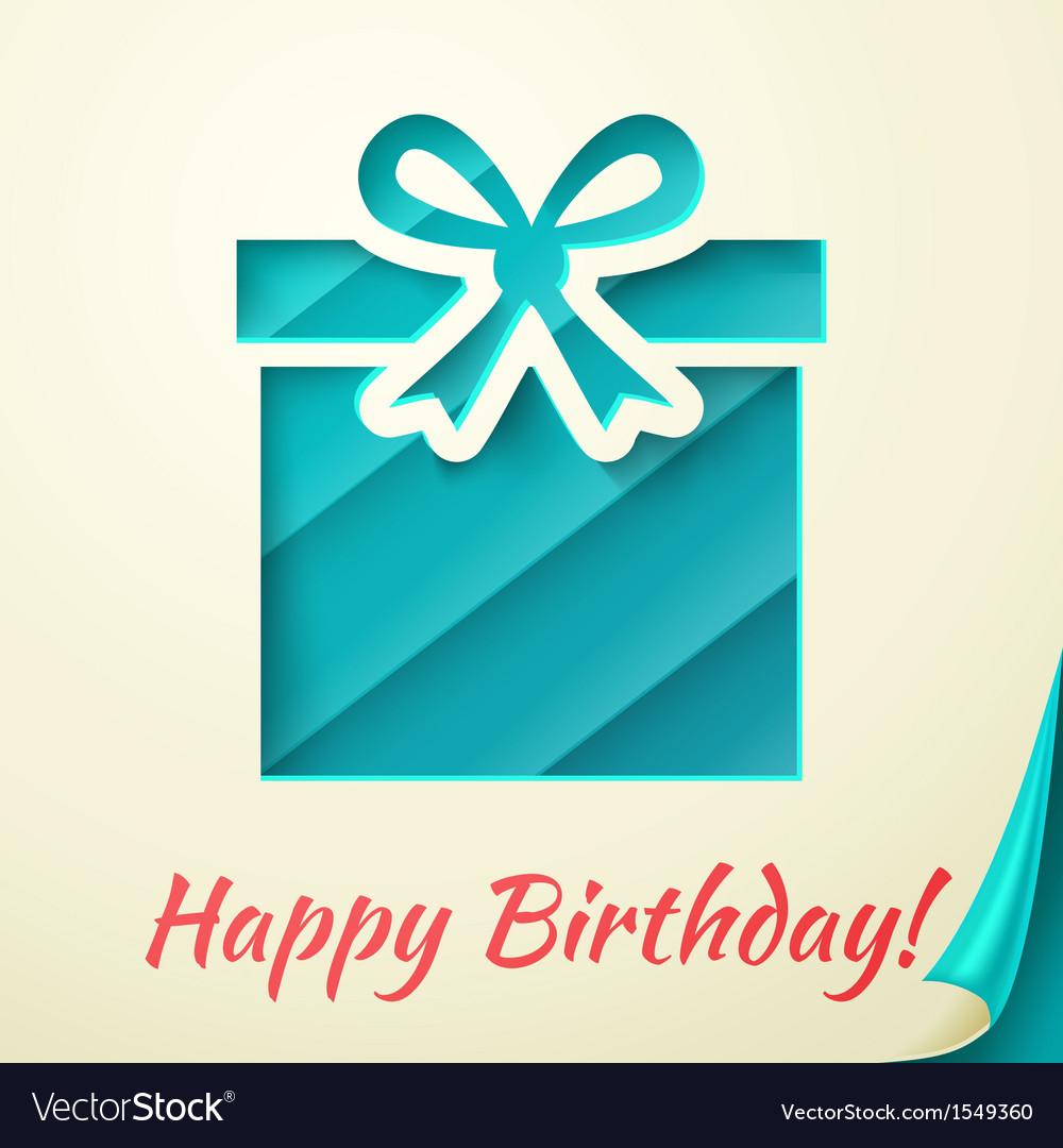 Happy birthday retro card with gift box vector | Price: 1 Credit (USD $1)