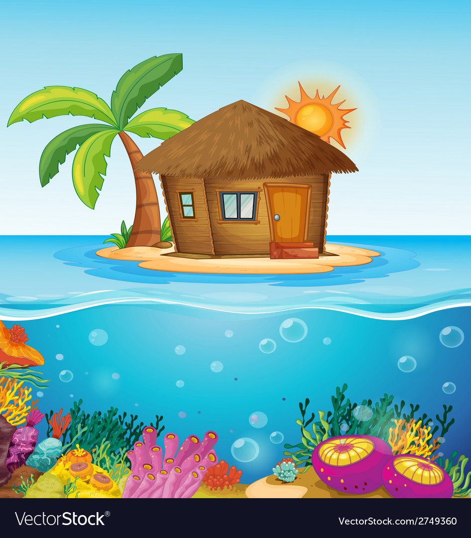 House on desert island vector | Price: 1 Credit (USD $1)