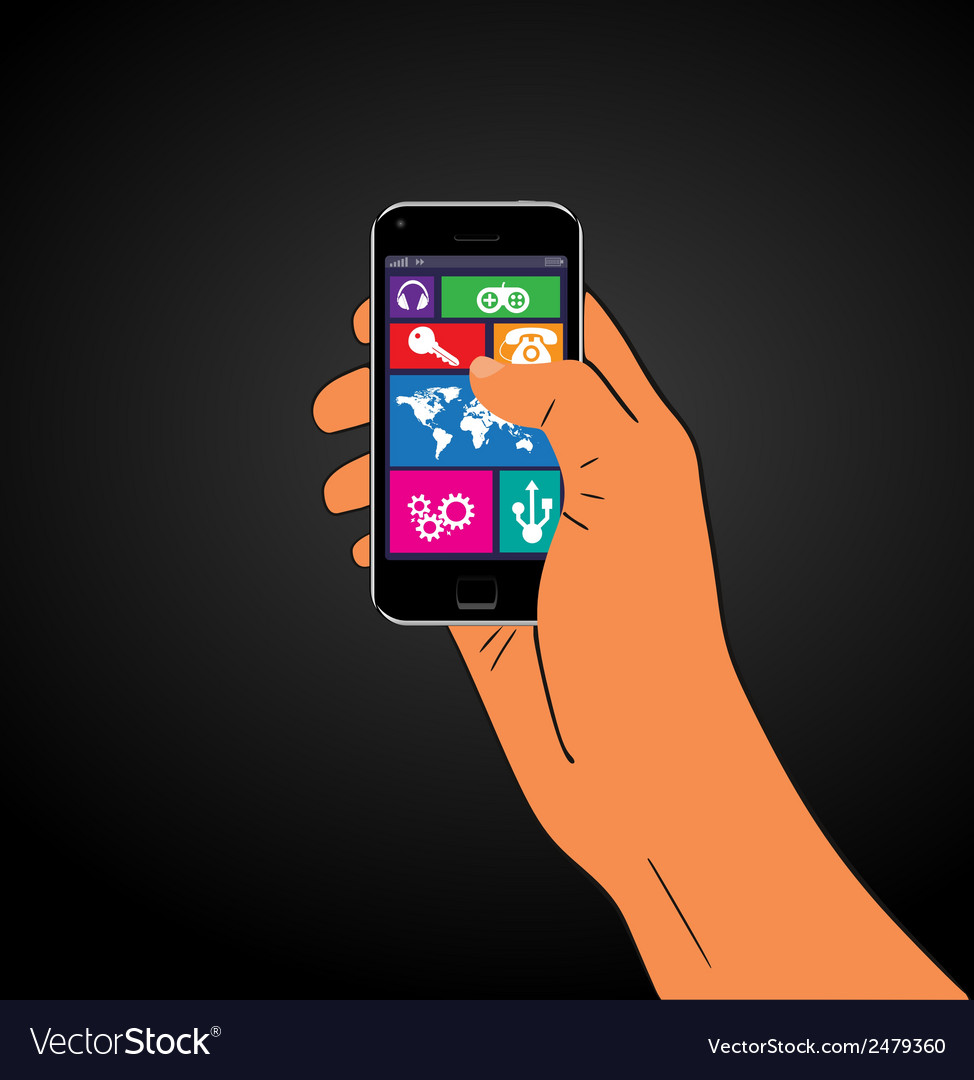 Mobile phone in the hand vector | Price: 1 Credit (USD $1)