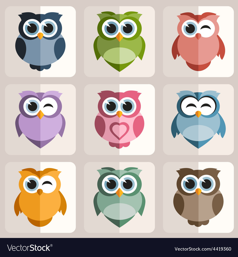 Owls stickers vector | Price: 1 Credit (USD $1)