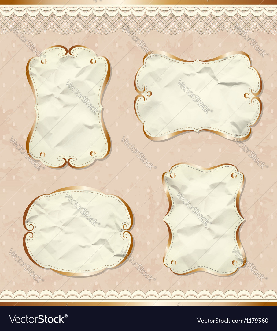 Romantic paper borders set vector | Price:  Credit (USD $)