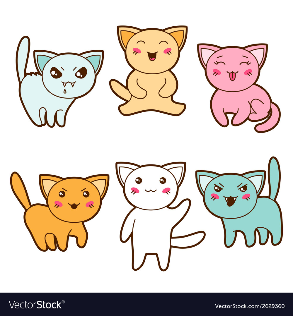 Set of kawaii cats with different facial vector | Price: 1 Credit (USD $1)