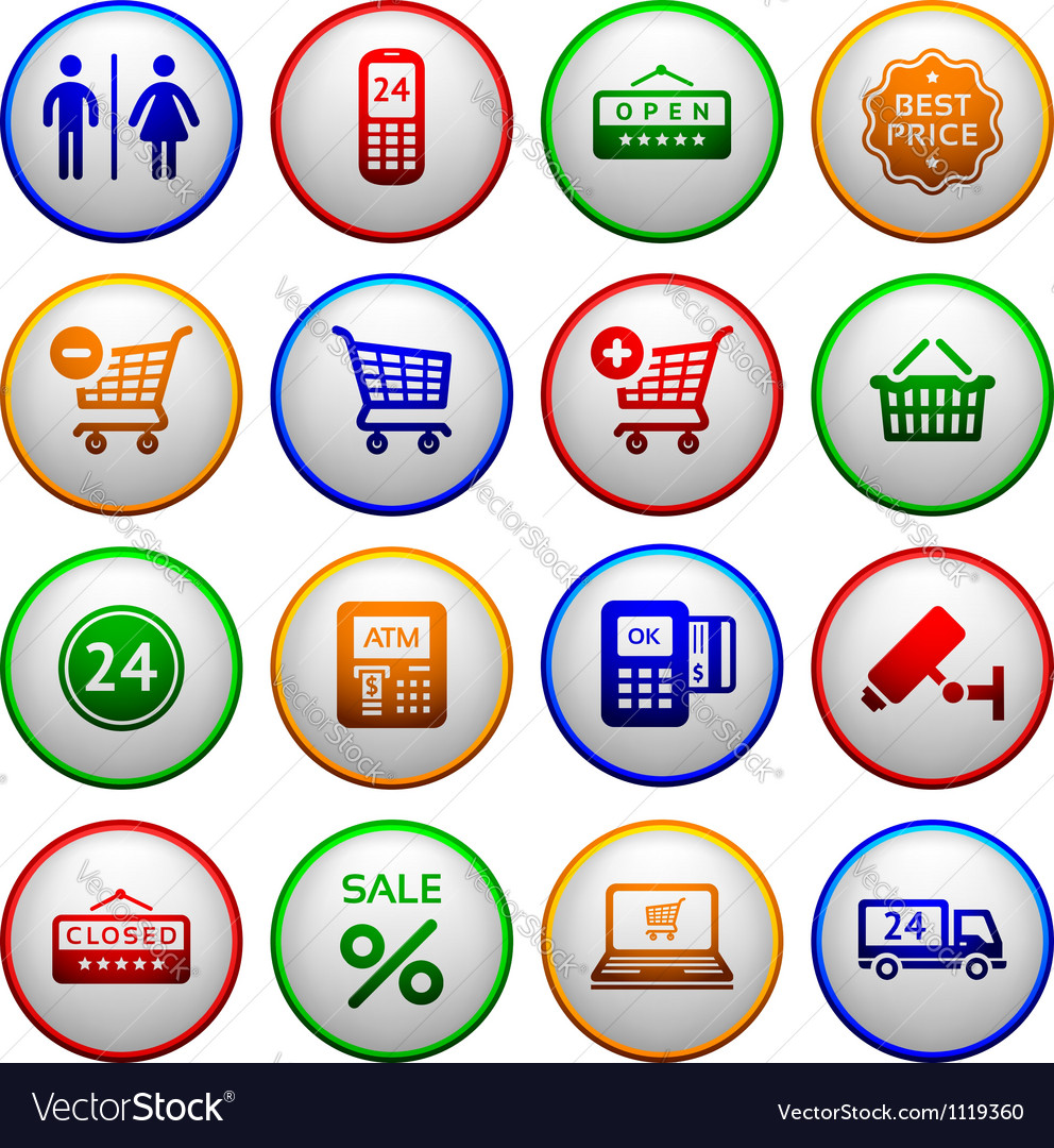 Set pictograms supermarket services vector | Price: 1 Credit (USD $1)