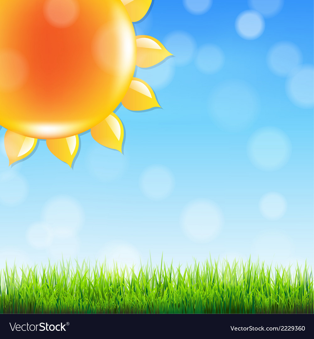 Summer sun with grass vector | Price: 1 Credit (USD $1)