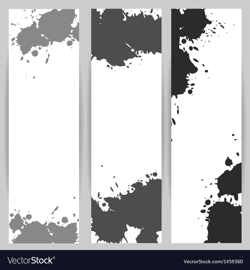 Vertical banners with grey paint splash vector | Price: 1 Credit (USD $1)