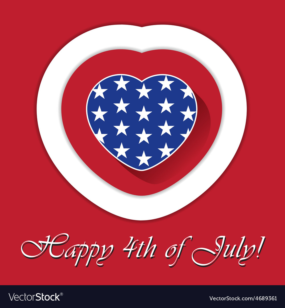 4th of july card with heart and contours vector | Price: 1 Credit (USD $1)