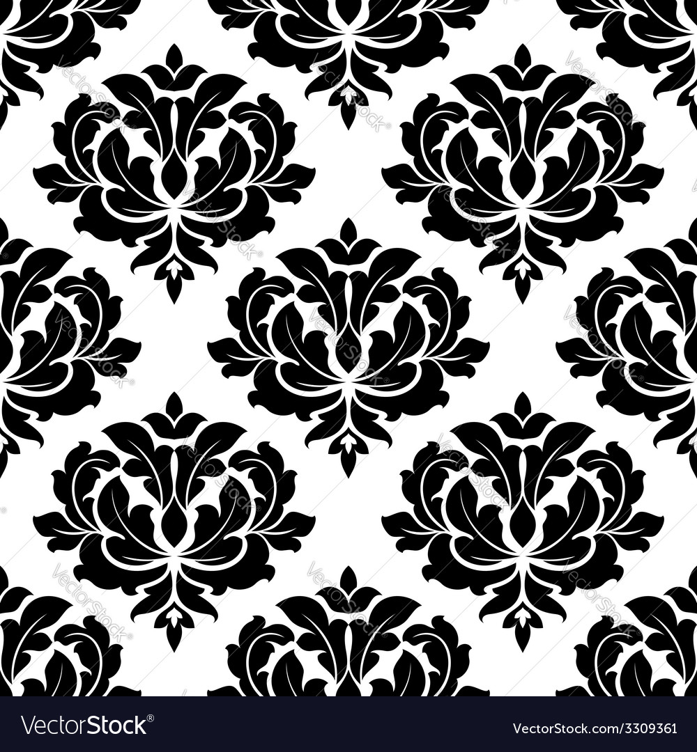 Black and white arabesque seamless pattern vector | Price: 1 Credit (USD $1)