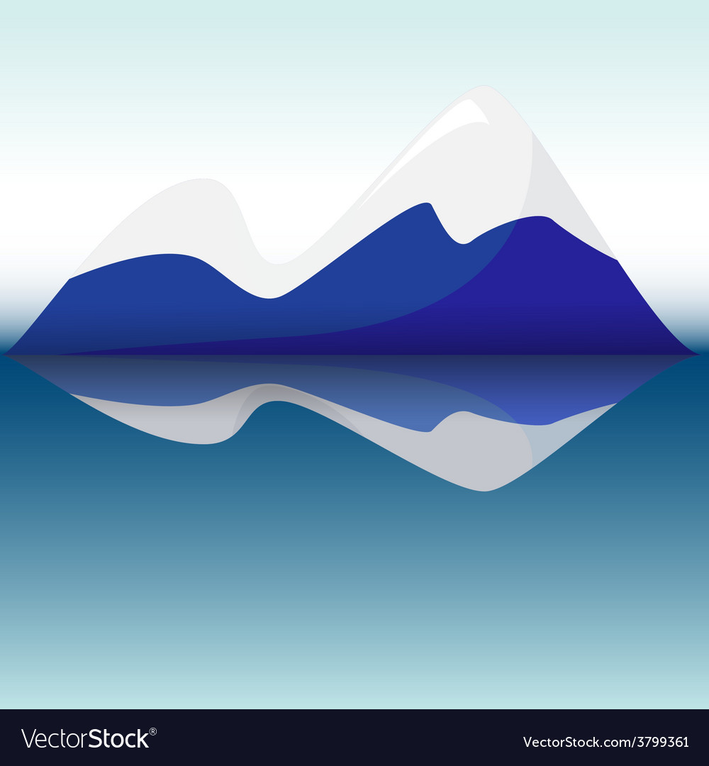 Blue mountains with reflection in lake vector | Price: 1 Credit (USD $1)