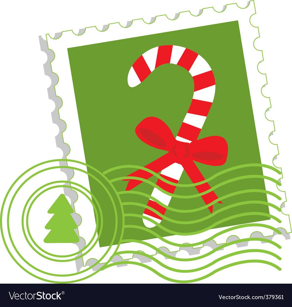 Christmas postage stamp vector