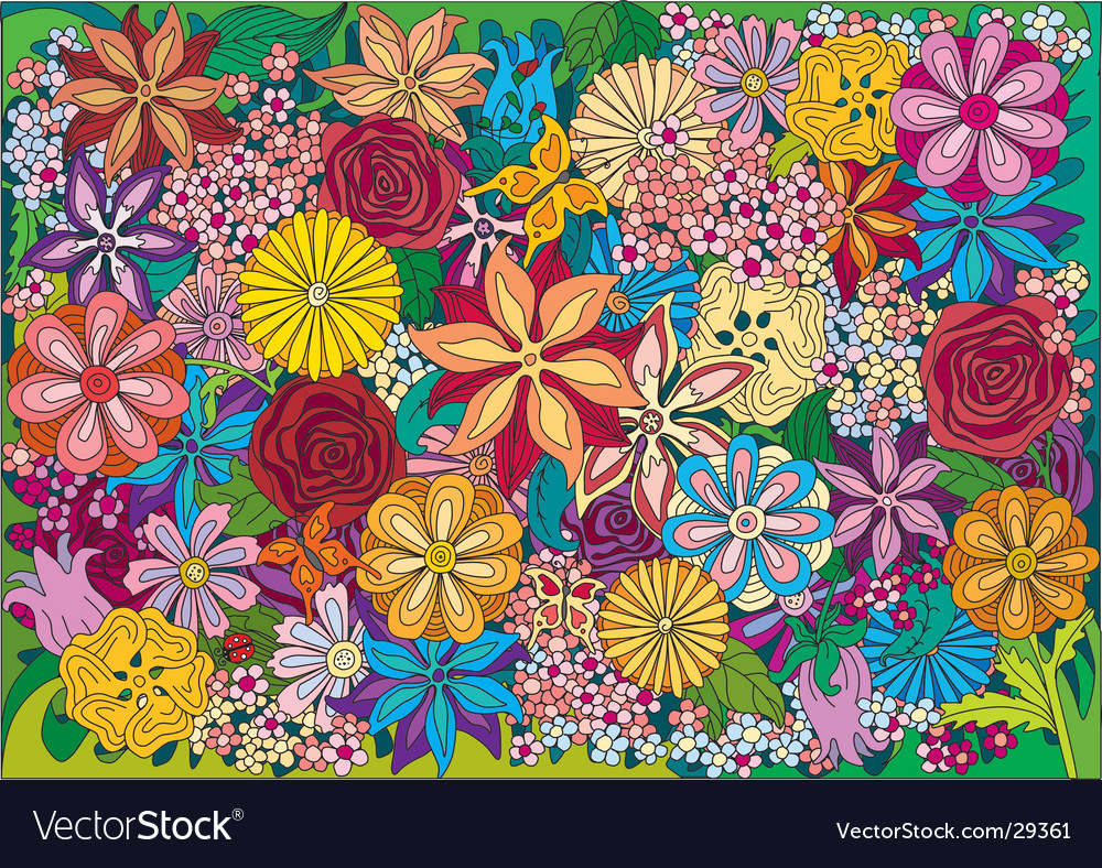 Flower pattern vector | Price: 3 Credit (USD $3)