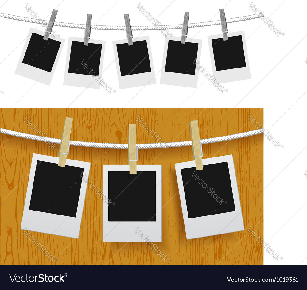Photo frames with pins on rope vector | Price: 1 Credit (USD $1)