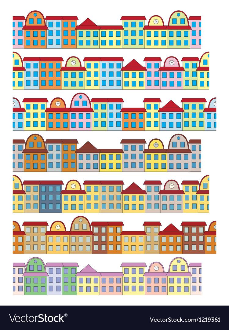 Rows of color buildings vector | Price: 1 Credit (USD $1)
