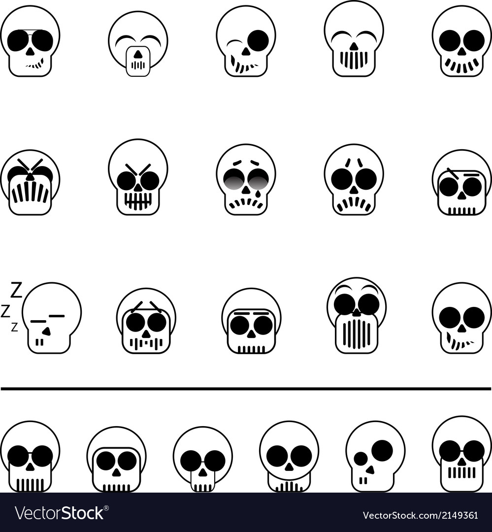 Set of icons skull vector | Price: 1 Credit (USD $1)