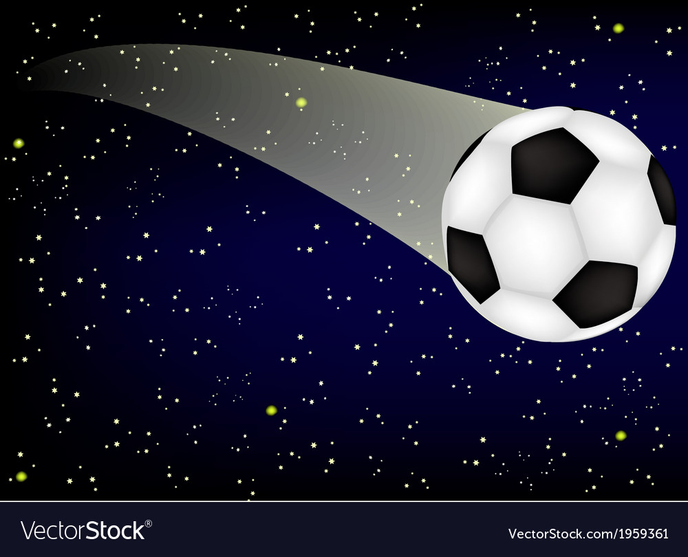 Soccer ball on background starry sky vector | Price: 1 Credit (USD $1)