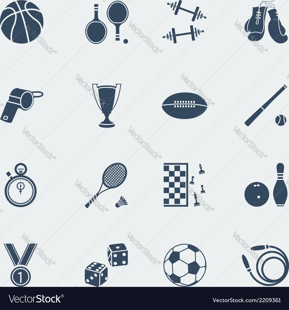Sports equipments of flat design vector