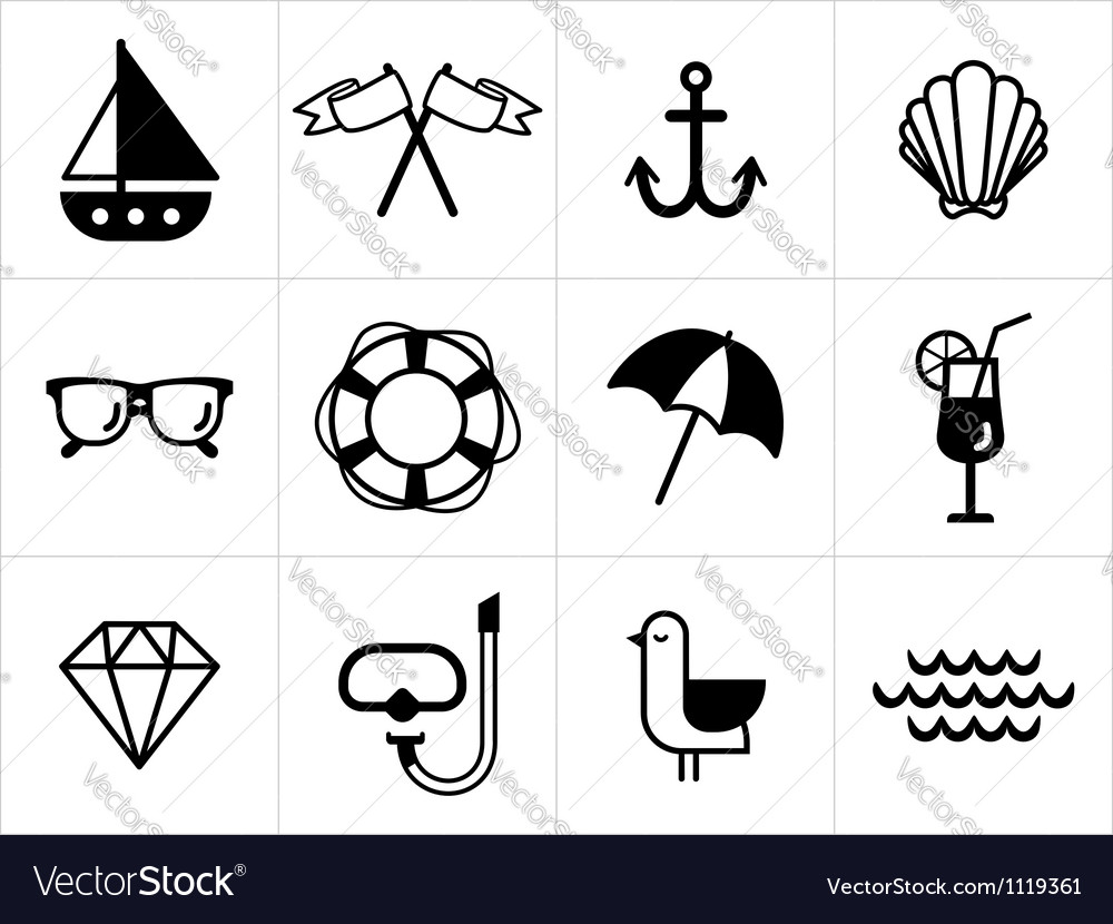 Summer sea icons set vector | Price: 1 Credit (USD $1)