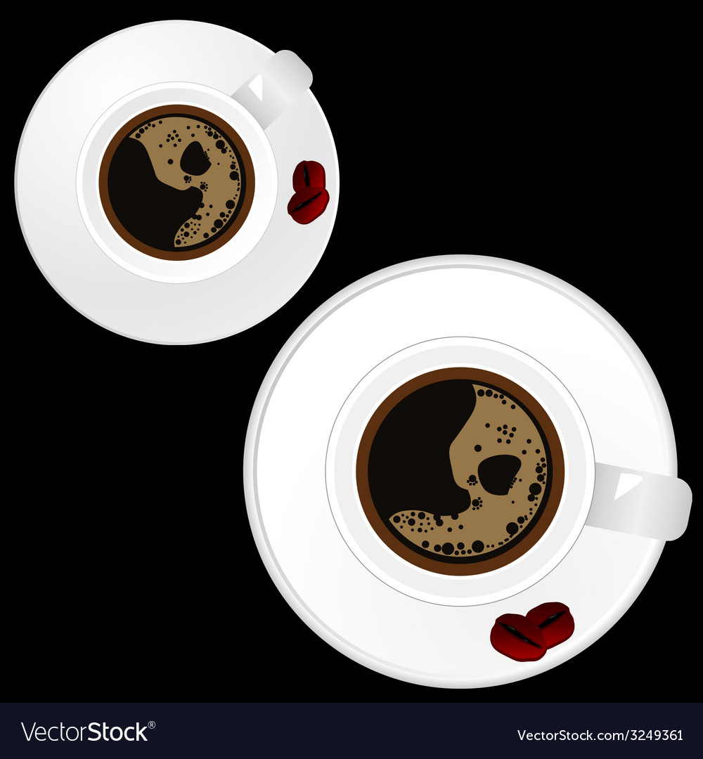 Two white cup of coffee on black background vector | Price: 1 Credit (USD $1)