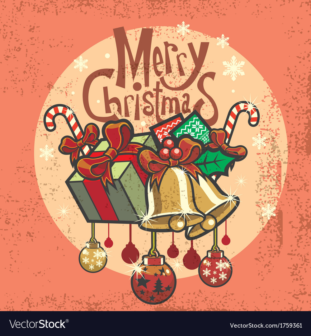 Vintage christmas greeting card vector | Price: 3 Credit (USD $3)