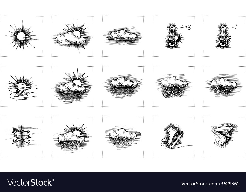 Vintage weather icons vector | Price: 1 Credit (USD $1)
