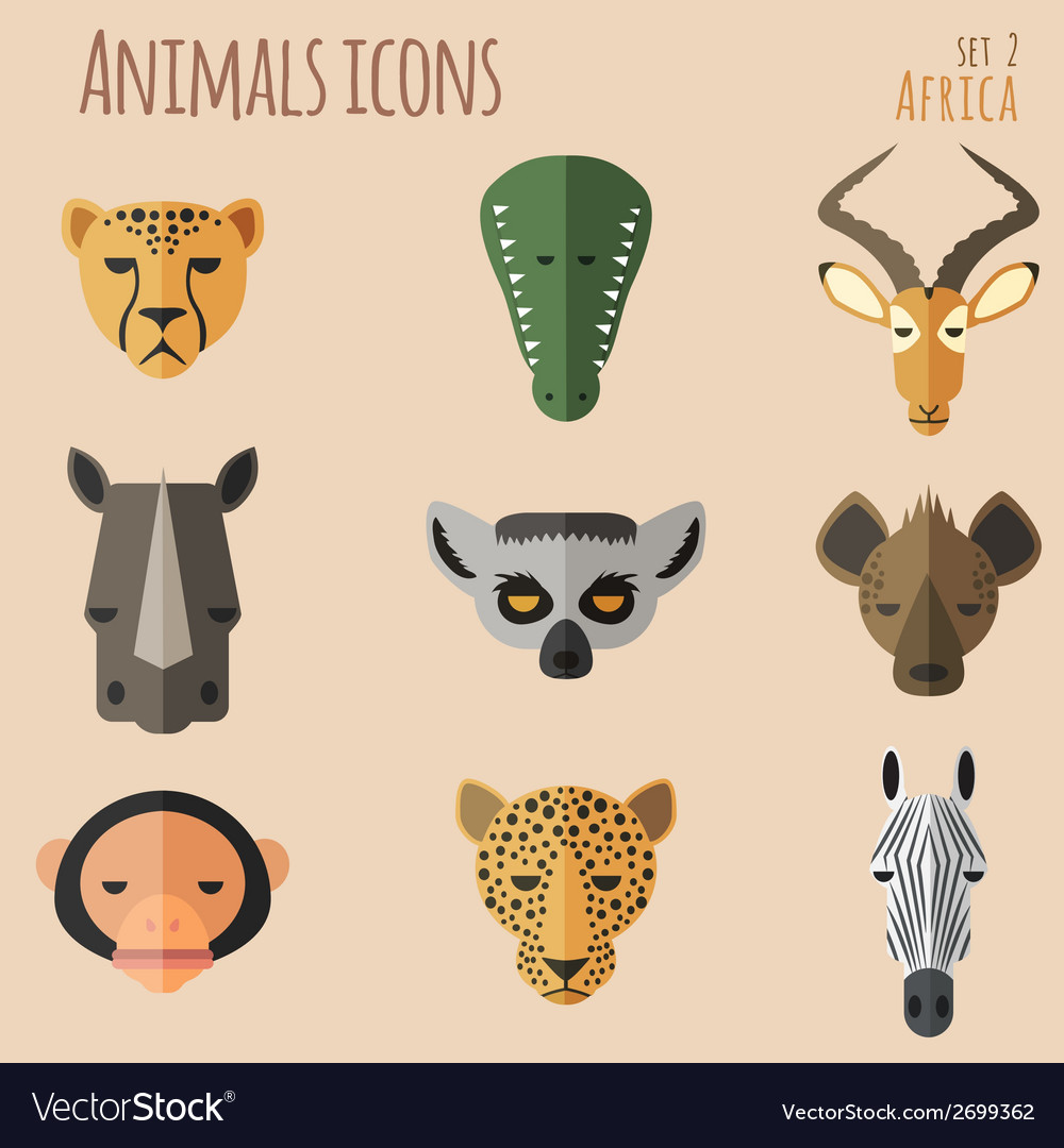African animal portrait set with flat design vector | Price: 1 Credit (USD $1)