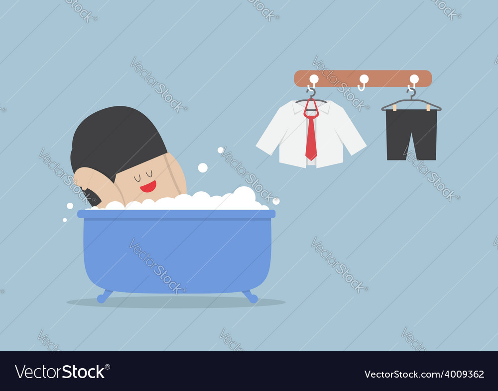 Businessman taking a bath and relaxing in bathtub vector | Price: 1 Credit (USD $1)