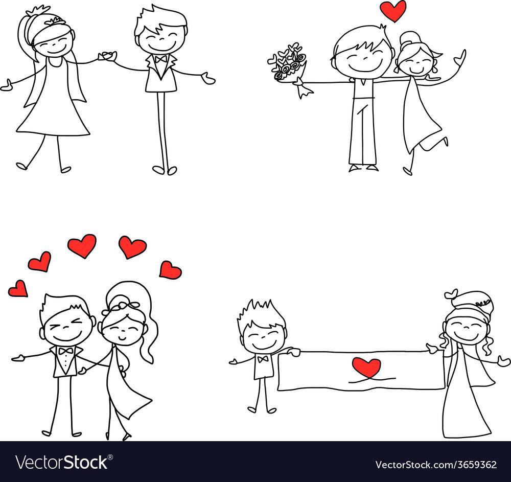 Cartoon character happy lovers wedding vector | Price: 1 Credit (USD $1)