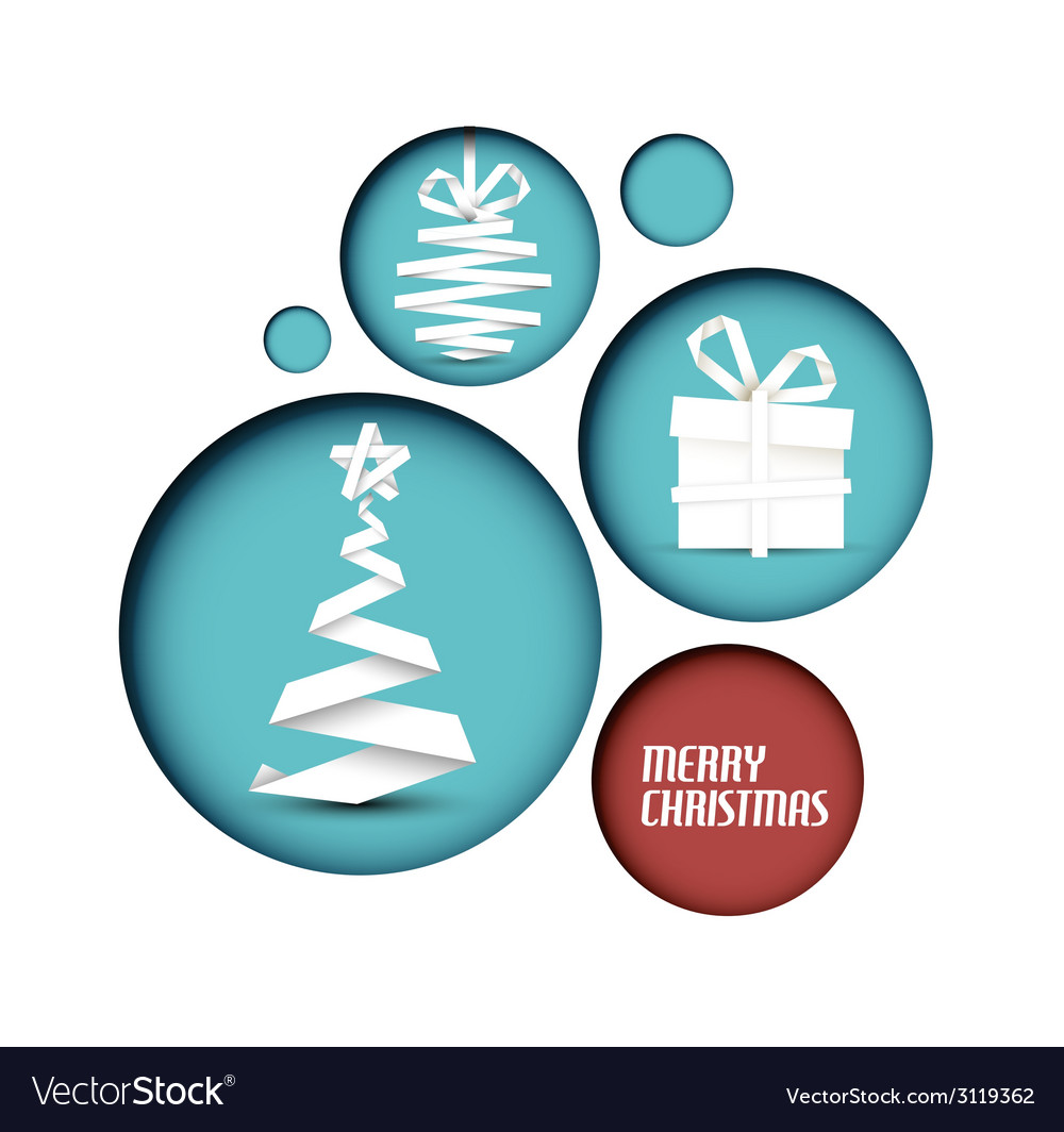 Christmas decoration made from white paper stripes vector | Price: 1 Credit (USD $1)