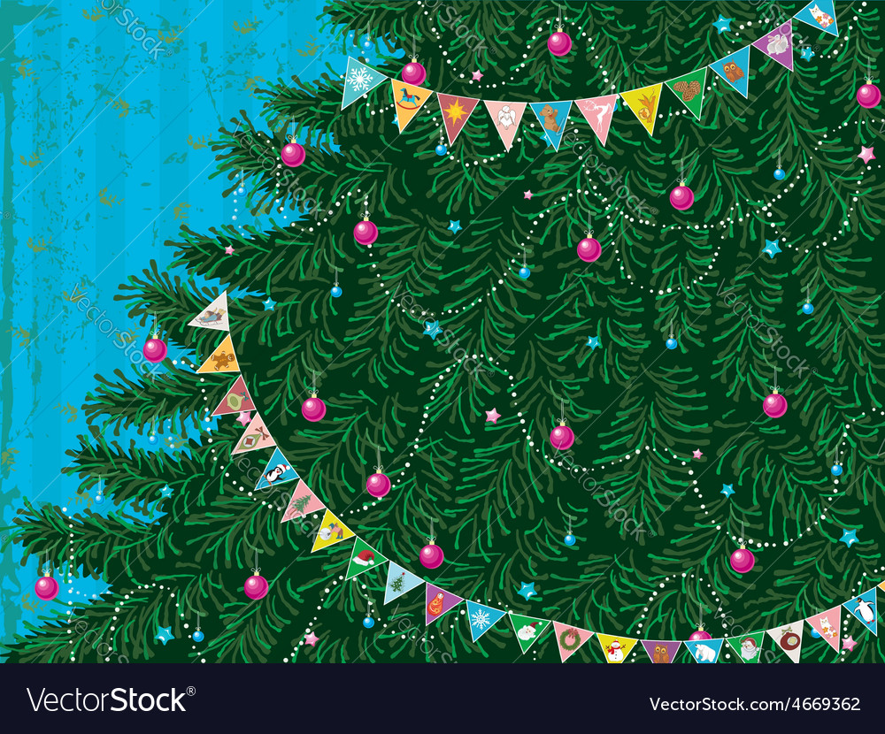 Christmas tree with garland vector | Price: 1 Credit (USD $1)