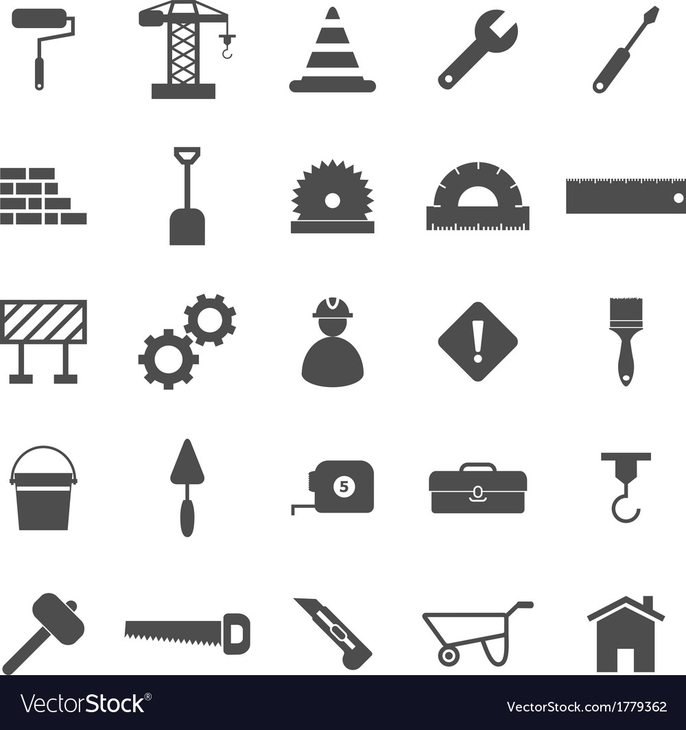 Construction icons on white background vector | Price: 1 Credit (USD $1)