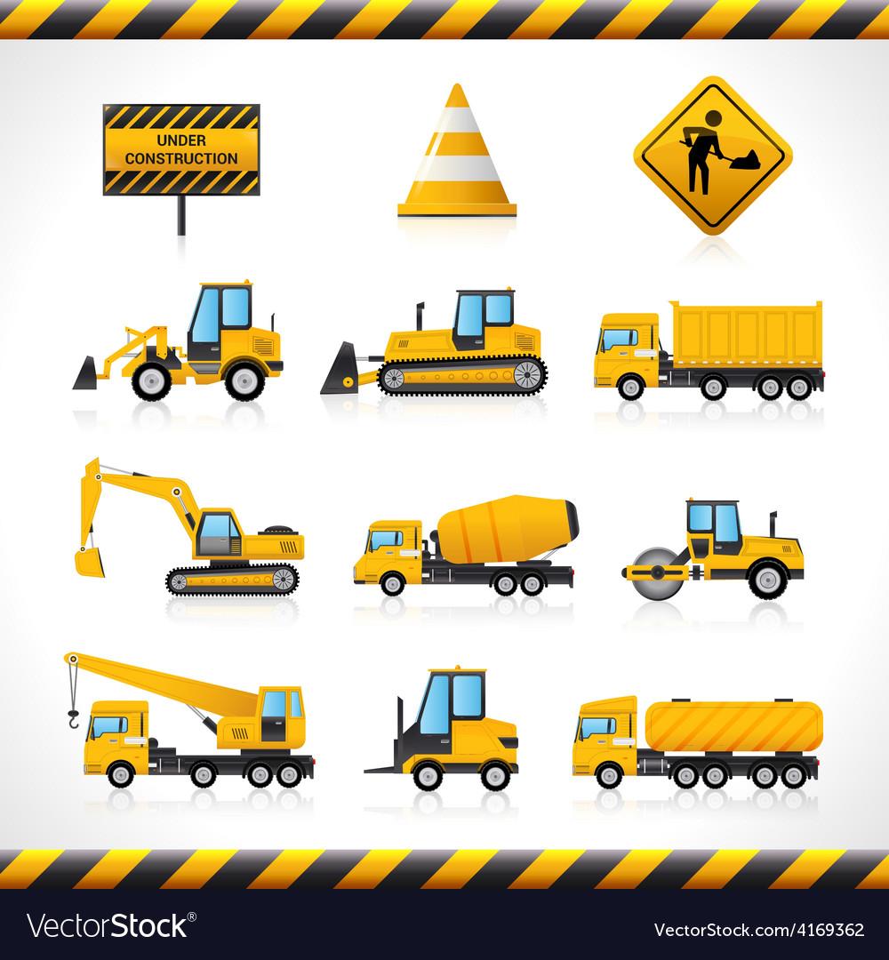 Construction machines set vector | Price: 1 Credit (USD $1)