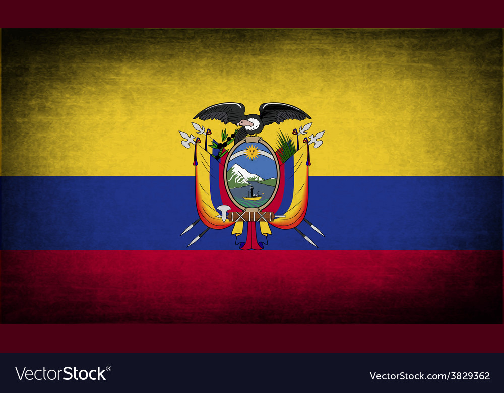 Flag of ecuador with old texture vector | Price: 1 Credit (USD $1)