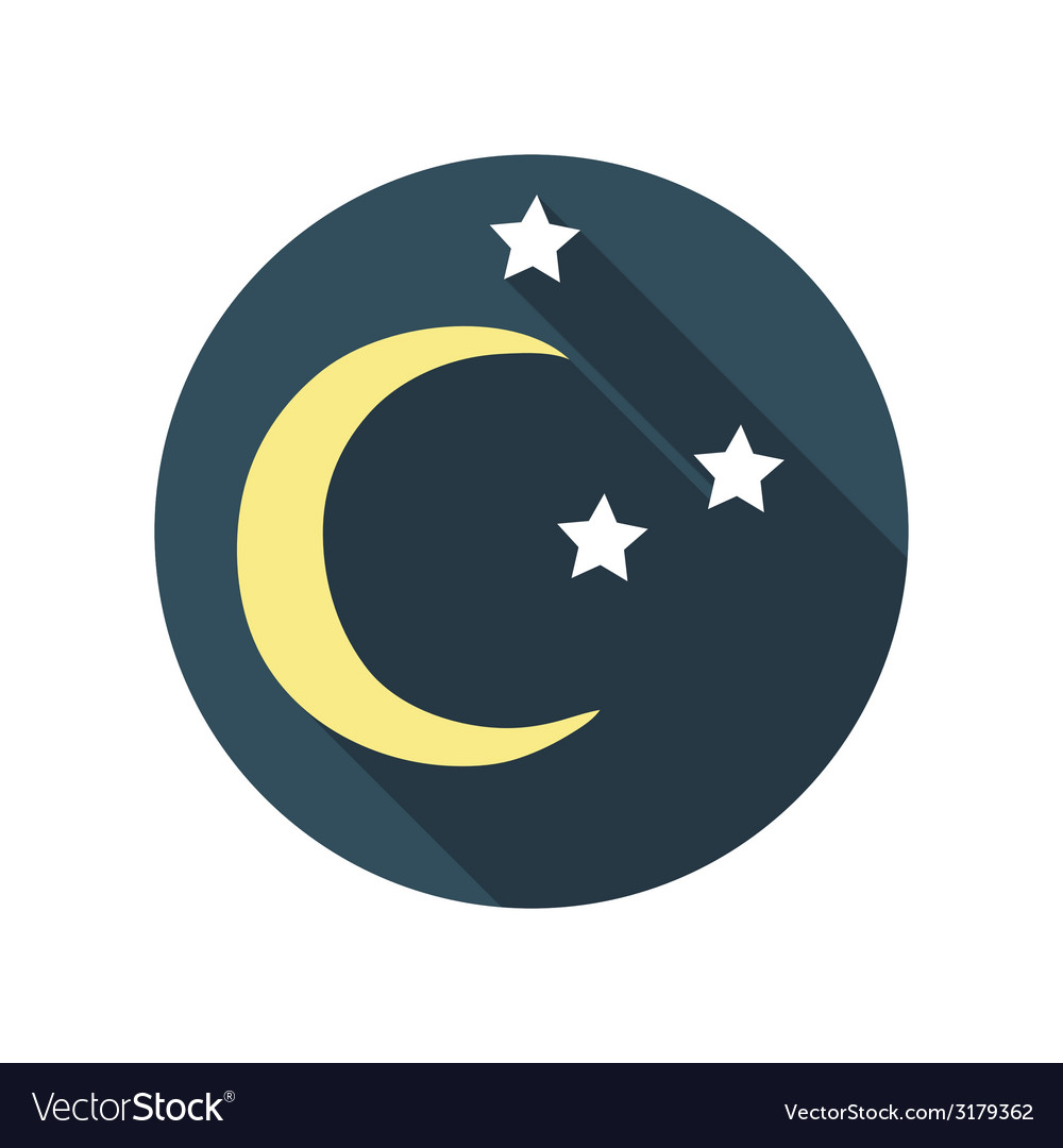 Flat design concept east moon with stars wit vector | Price: 1 Credit (USD $1)