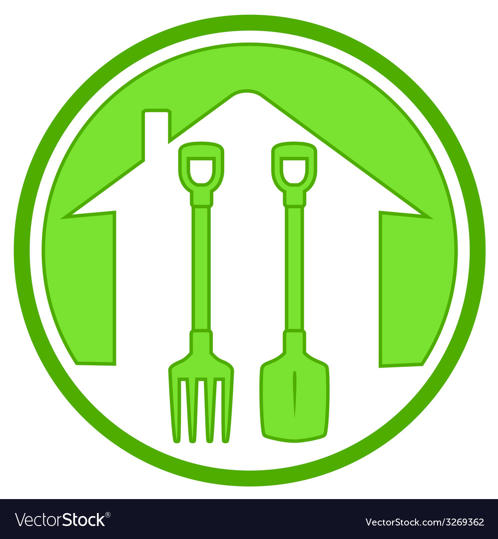 Green icon with gardening tools vector | Price: 1 Credit (USD $1)