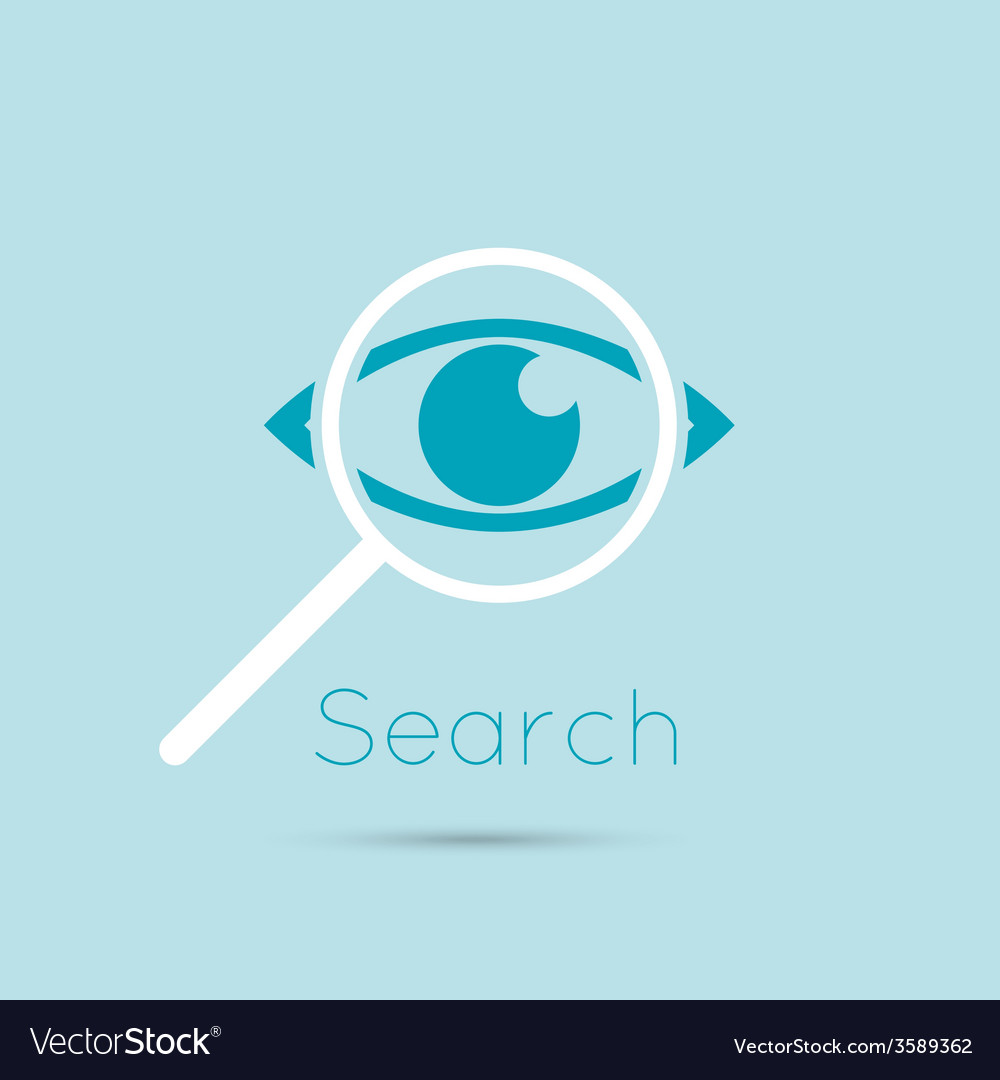 Icon eyes with a magnifying glass vector | Price: 1 Credit (USD $1)