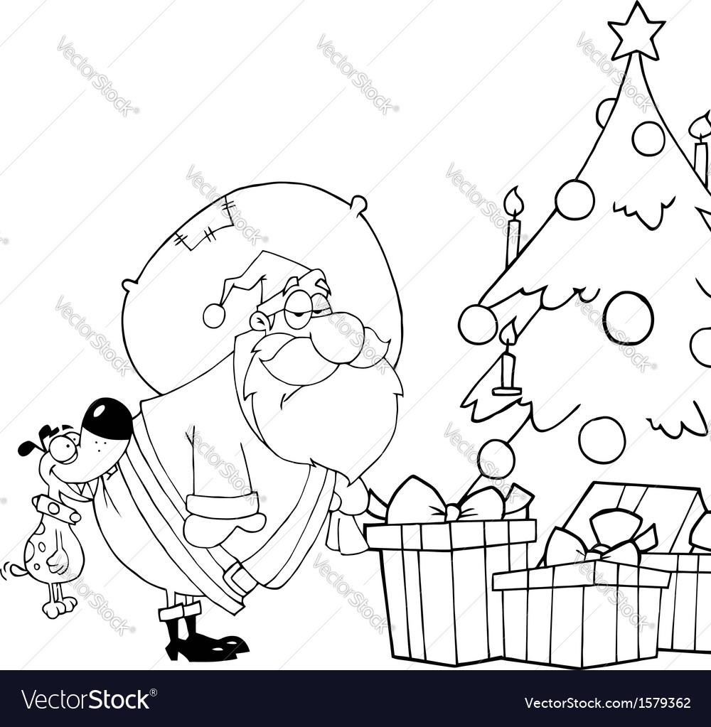 Santa delivering presents cartoon vector | Price: 1 Credit (USD $1)
