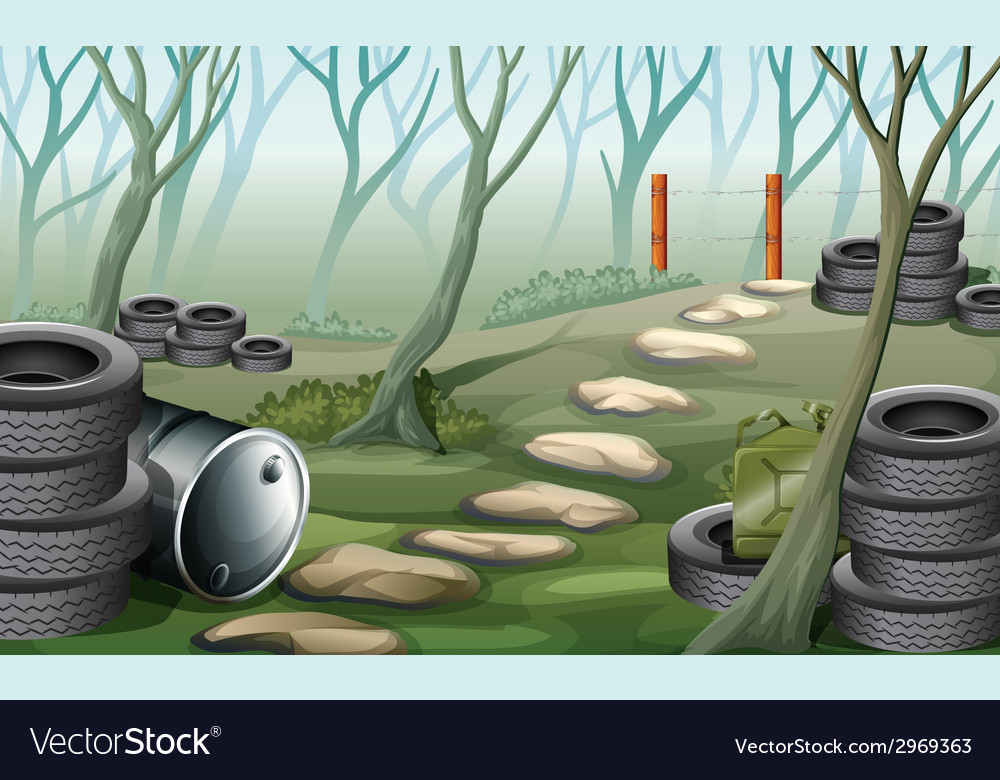 A forest with tires vector | Price: 3 Credit (USD $3)