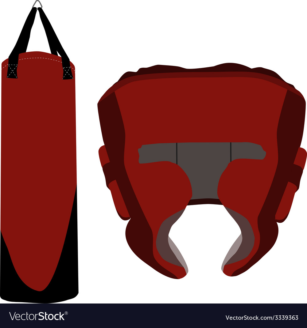 Boxing bag and helmet vector | Price: 1 Credit (USD $1)