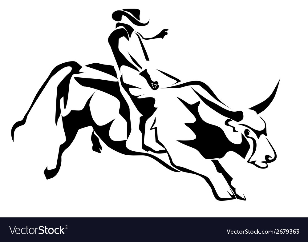 Bull riding vector | Price: 1 Credit (USD $1)