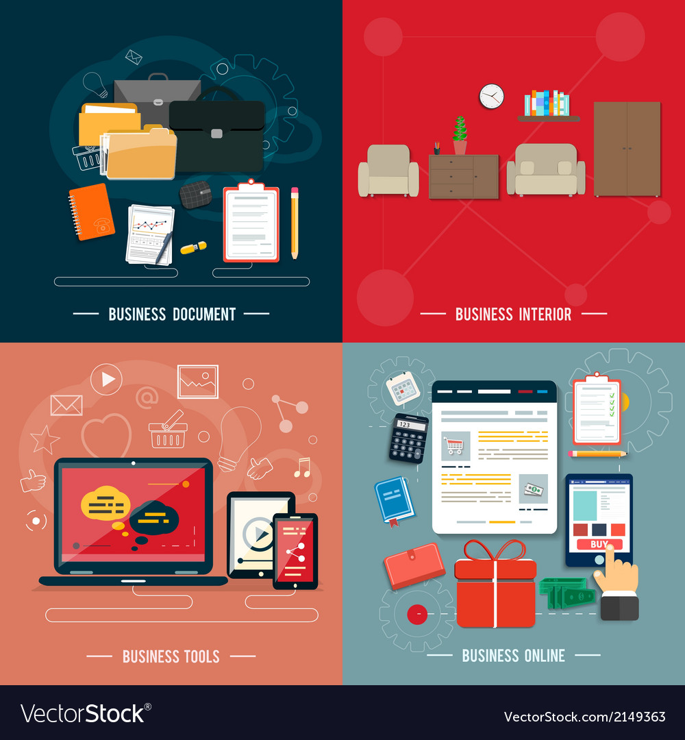 Business tools interior online documents vector | Price: 1 Credit (USD $1)