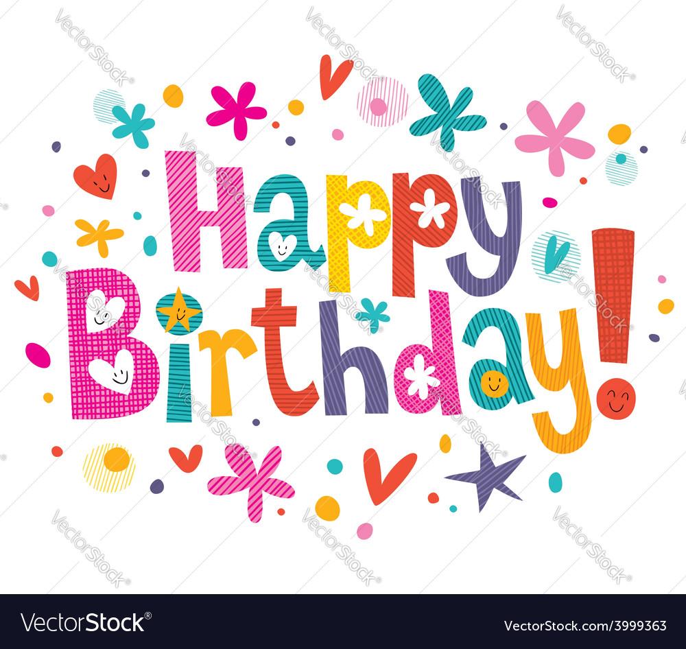Happy birthday text 3 vector | Price: 1 Credit (USD $1)