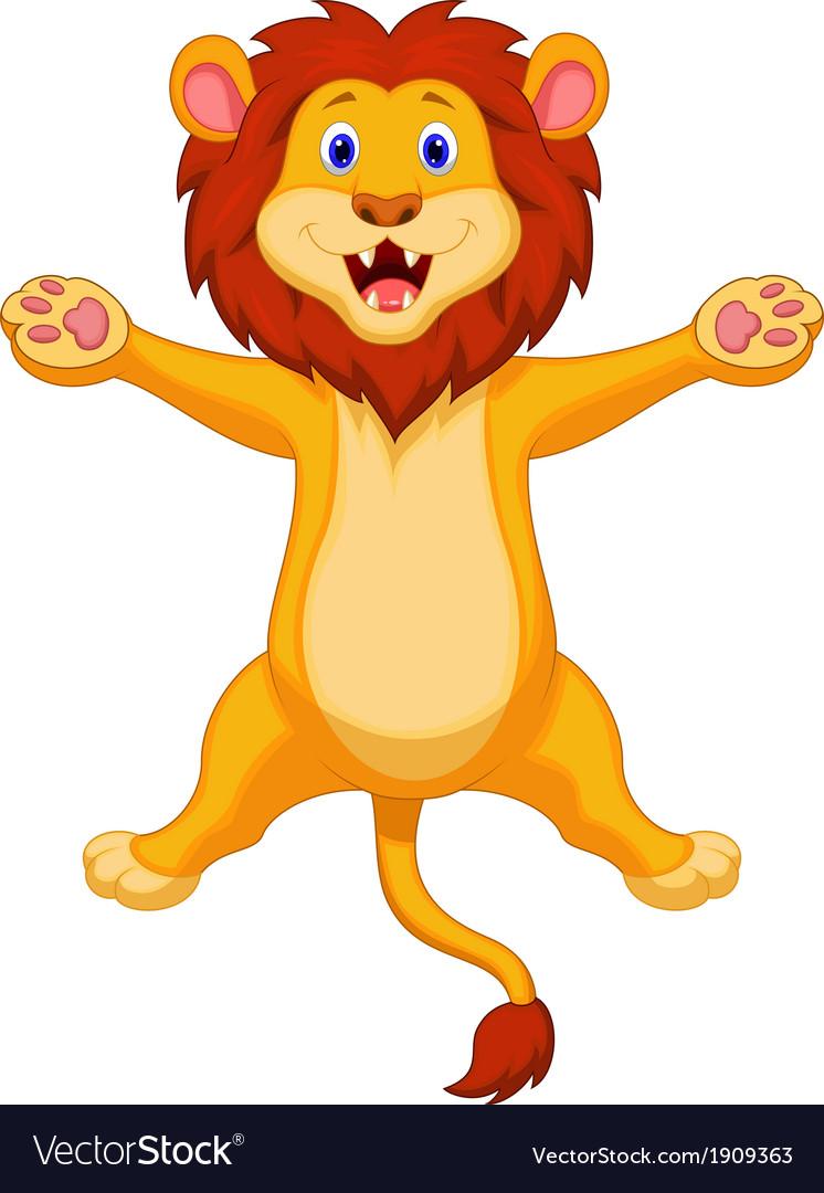 Happy lion cartoon jumping vector   Price: 1 Credit (USD $1)