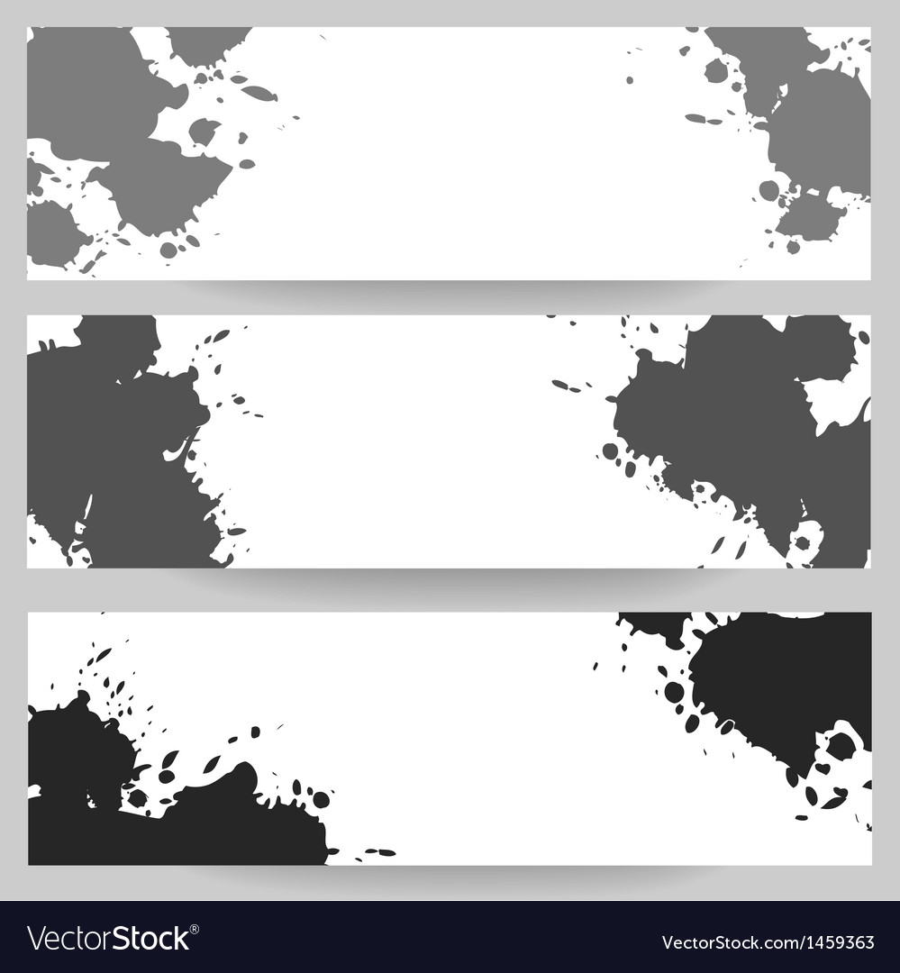 Horizontal banners with grey paint splash vector | Price: 1 Credit (USD $1)