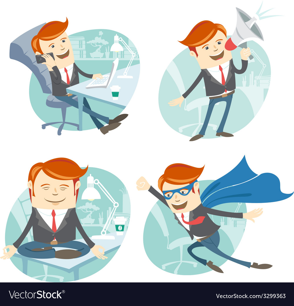 Office man hipster set flying super man wearing vector | Price: 1 Credit (USD $1)