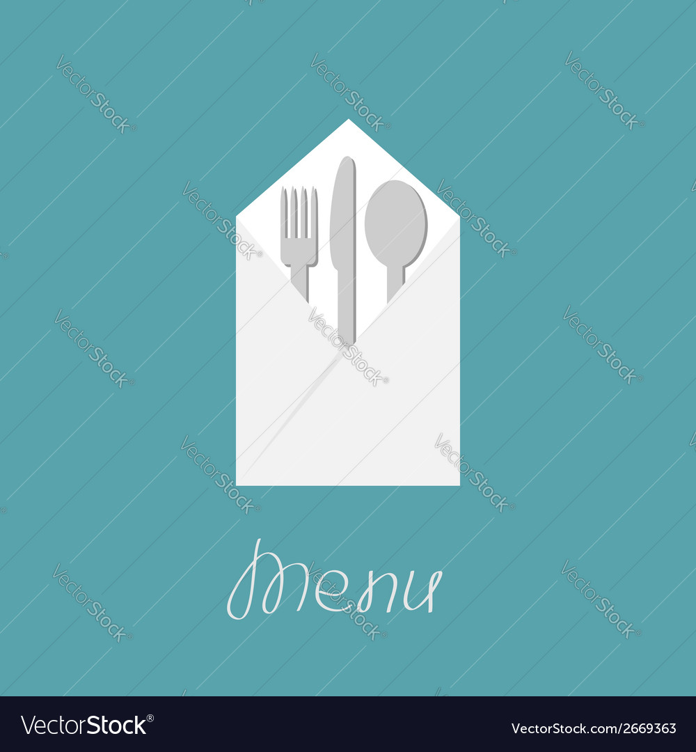 Silver fork knife spoon and napkin menu cover vector | Price: 1 Credit (USD $1)