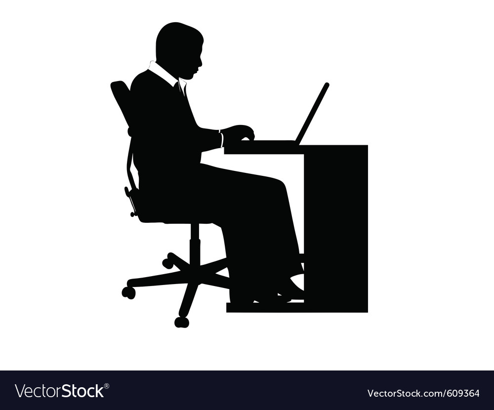 Businessman at desk vector | Price: 1 Credit (USD $1)