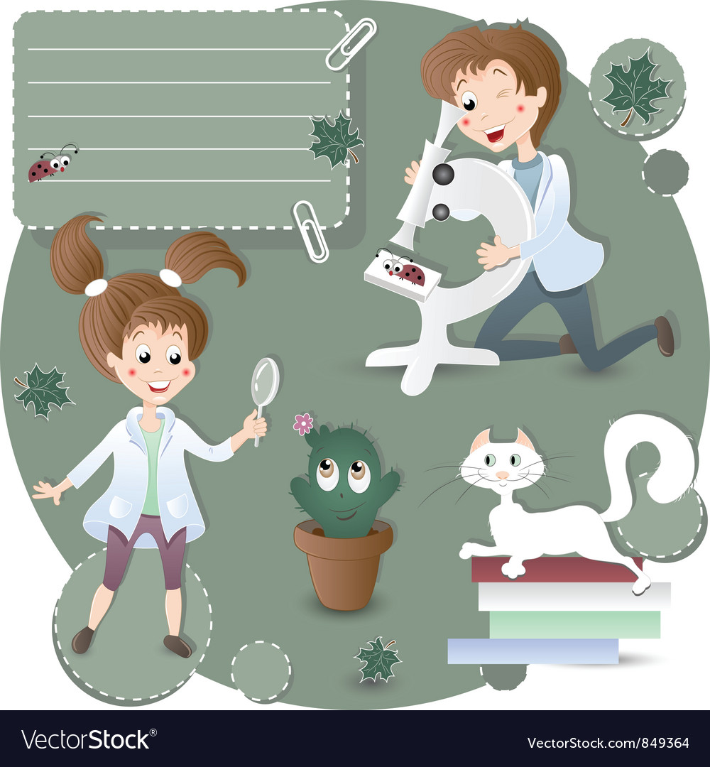 Children in biology class vector | Price: 3 Credit (USD $3)