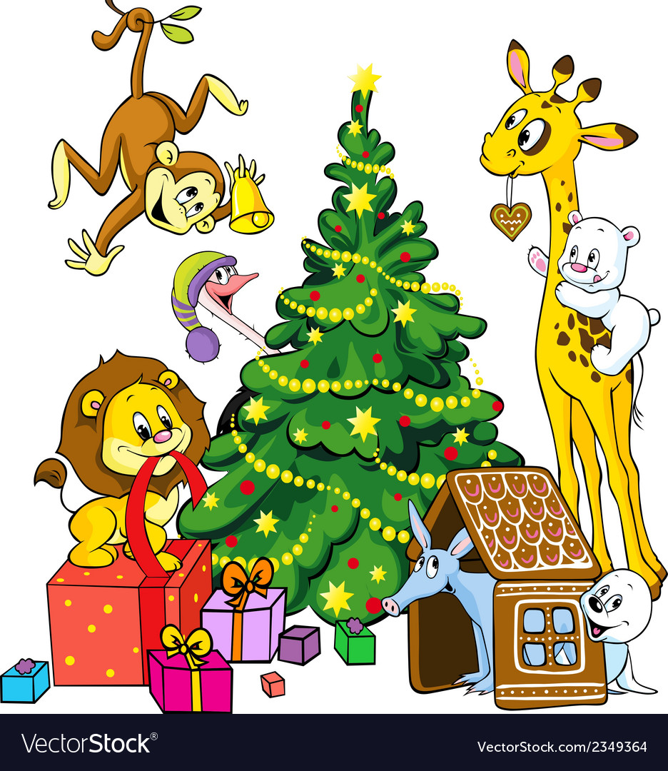 Cute animals celebrate christmas vector | Price: 1 Credit (USD $1)