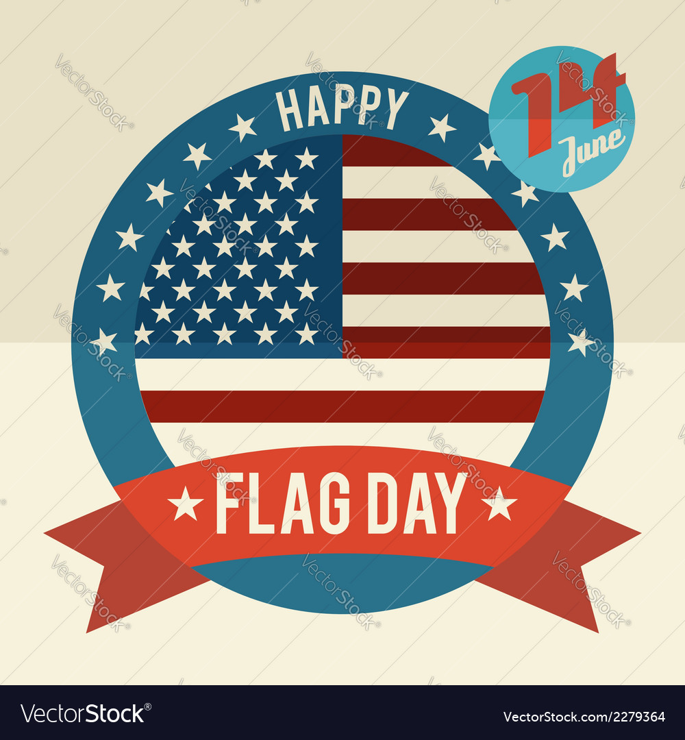 Flag day of united states flat design card vector | Price: 1 Credit (USD $1)
