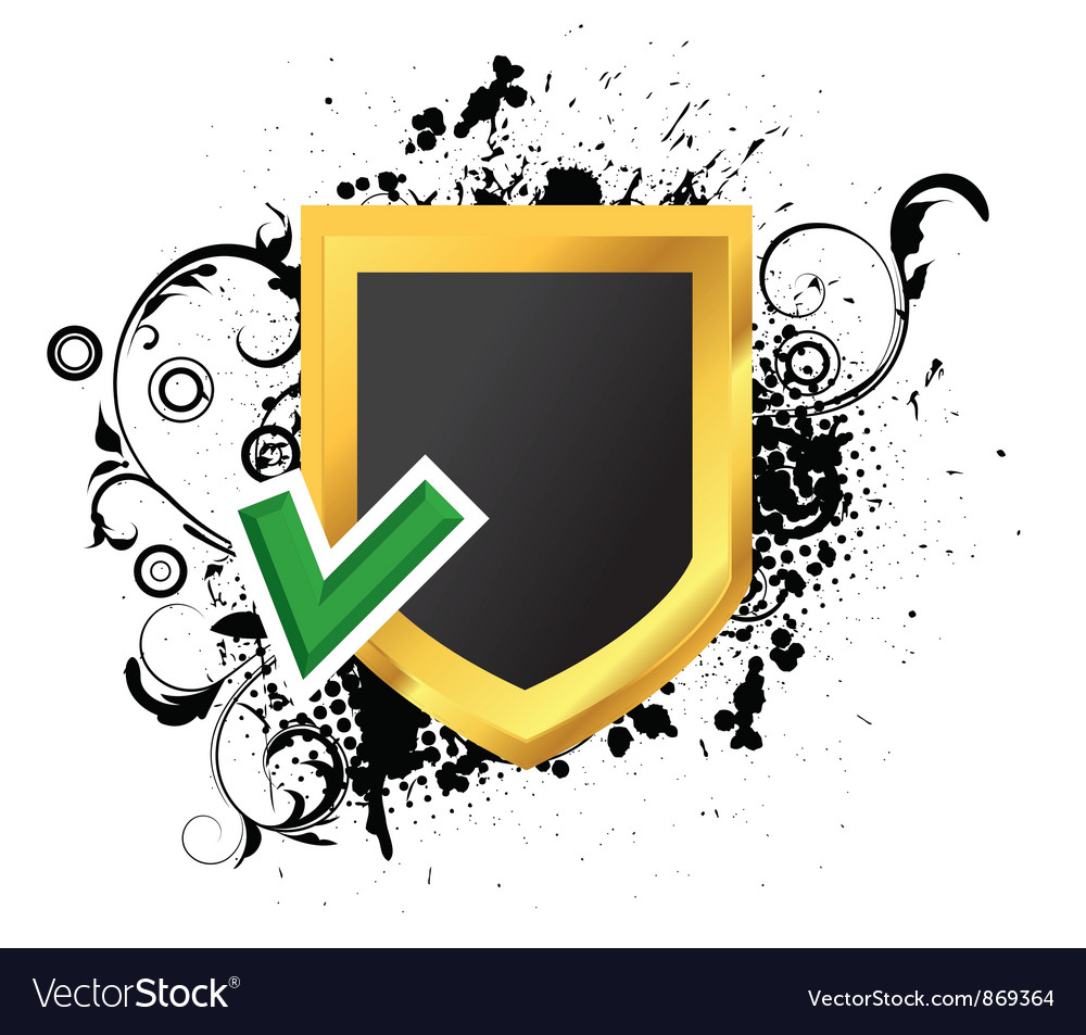 Gold shield with grunge vector | Price: 1 Credit (USD $1)