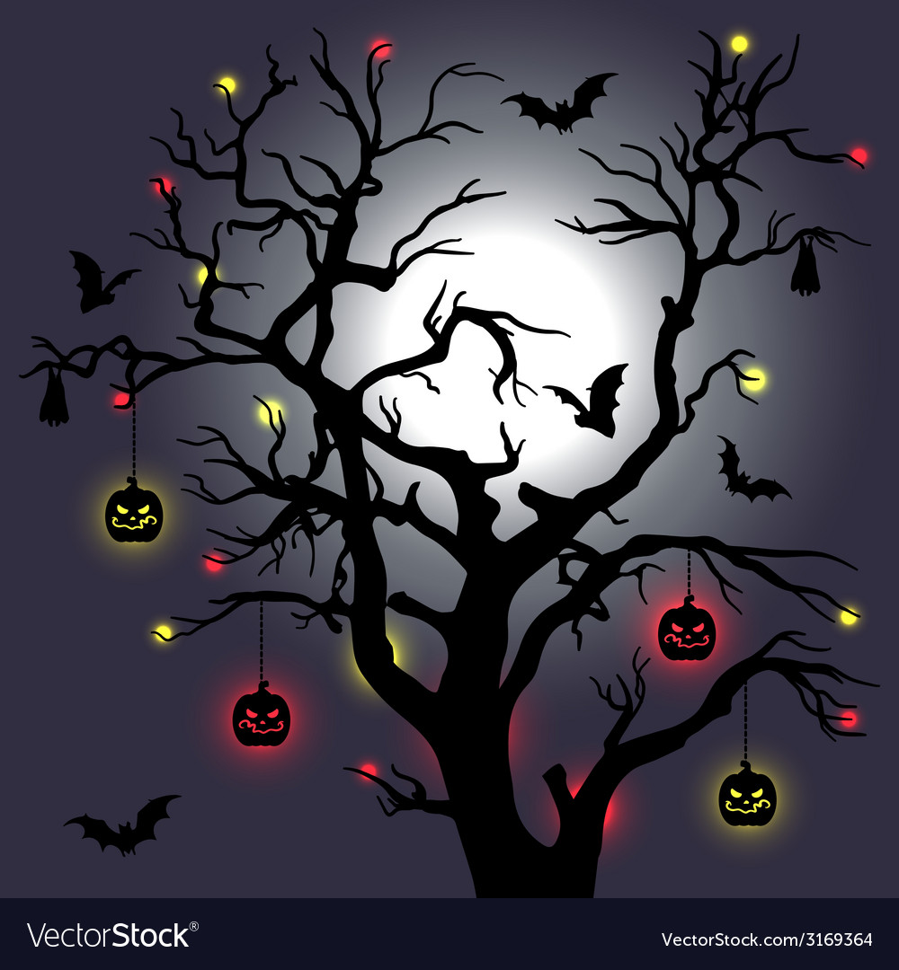 Halloween tree with bats and moon vector | Price: 1 Credit (USD $1)
